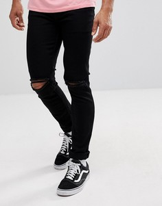 Черные джинсы скинни с рваными коленями ASOS - Черный