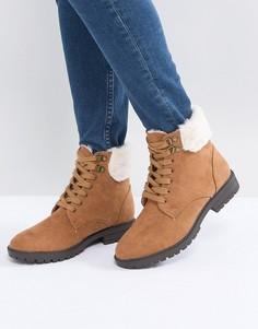 Светло-коричневые ботинки на плоской подошве с подкладкой из искусственного меха Head Over Heels Piyah - Рыжий