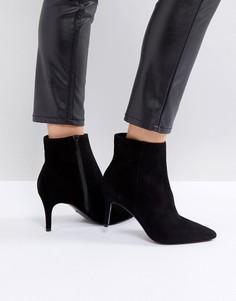 Черные кожаные полусапожки на каблуке Dune - Черный