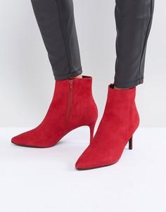 Красные замшевые полусапожки на каблуке Dune - Красный