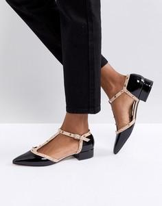 Кожаные туфли на низкой подошве с заклепками Dune - Черный