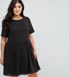 Свободное повседневное платье мини в фактурную клетку ASOS CURVE - Черный