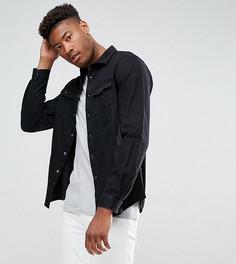 Черная джинсовая рубашка навыпуск с вельветовым воротником ASOS TALL - Черный