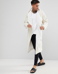 Блестящий флисовый халат с капюшоном ASOS - Белый