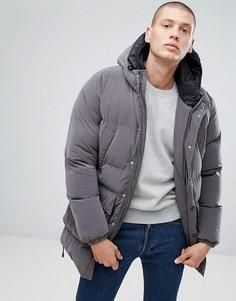 Серое дутое пальто с двойным капюшоном North Sails Stockholm - Серый