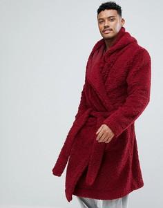 Халат из искусственного меха с капюшоном ASOS - Красный