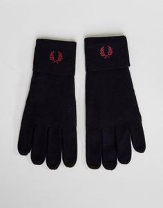 Темно-синие перчатки из мериносовой шерсти с логотипом Fred Perry - Темно-синий