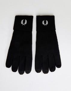 Черные перчатки с логотипом из мериносовой шерсти Fred Perry - Черный