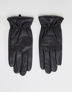Черные кожаные перчатки с перфорацией Fred Perry - Черный
