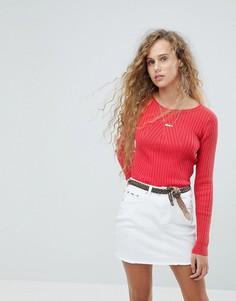 Вязаный джемпер в рубчик Pepe Jeans - Красный