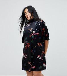 Свободное бархатное платье с люверсами и цветочным принтом Lost Ink Plus - Мульти