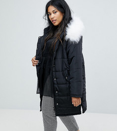 Дутая куртка с отделкой искусственным мехом Lost Ink Plus - Черный