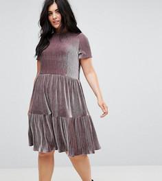 Свободное плиссированное платье из бархата Lost Ink Plus - Серый
