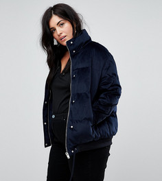 Бархатная дутая куртка Lost Ink Plus - Темно-синий