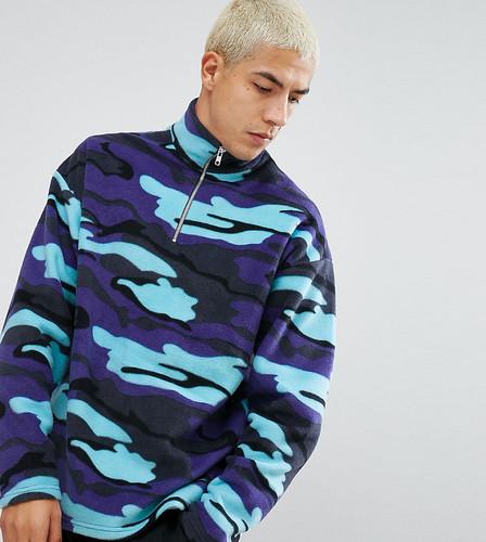 Камуфляжная флисовая куртка на молнии Reclaimed Vintage Inspired - Синий