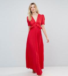 Чайное платье макси с плиссировкой ASOS TALL - Красный