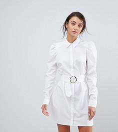 Платье-рубашка мини с поясом ASOS TALL - Белый