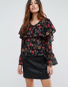 Блузка с цветочным принтом и оборкой Influence - Мульти
