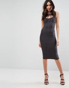 Платье-футляр миди с вырезом на груди Outrageous Fortune - Серый