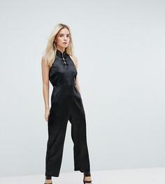 Комбинезон с высоким воротником и пуговицами Fashion Union Petite - Черный