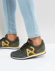 Кроссовки цвета хаки с логотипом Armani Jeans - Зеленый