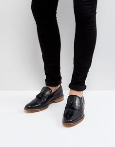 Черные кожаные лоферы с натуральной подошвой и бахромой ASOS - Черный