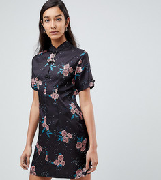 Платье с высоким воротом и цветочным принтом в винтажном стиле Fashion Union Tall - Мульти