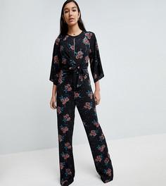 Комбинезон с цветочным принтом Fashion Union Tall - Черный