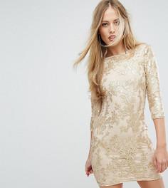 Платье мини с рукавами длиной 3/4 и пайетками TFNC - Золотой
