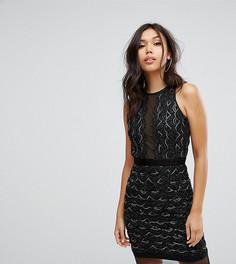 Платье мини с фигурными краями и отделкой пайетками TFNC - Черный