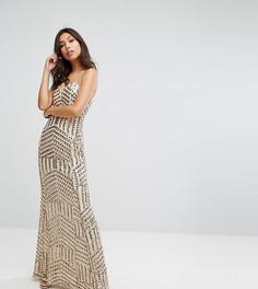 Платье-бандо макси с пайетками TFNC - Золотой