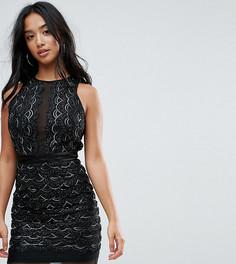 Платье мини с фигурными краями и отделкой пайетками TFNC Petite - Черный