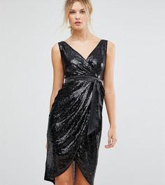 Платье миди с пайетками и атласным поясом TFNC Tall - Черный