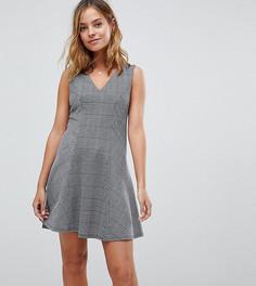 Платье мини в клетку с V-образным вырезом Boohoo Petite - Мульти