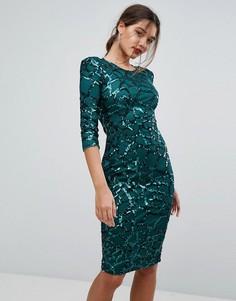 Платье миди с пайетками Boohoo - Зеленый