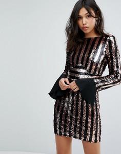 Платье в полоску с пайетками Boohoo - Мульти