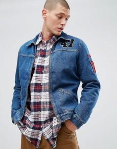 Выбеленная джинсовая куртка с подкладкой из искусственного меха Wrangler Hawkins - Синий