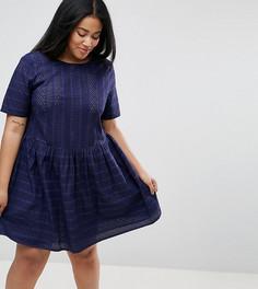 Свободное платье мини с вышивкой ришелье ASOS CURVE - Темно-синий