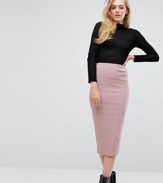 Удлиненная юбка-карандаш с завышенной талией ASOS TALL - Розовый