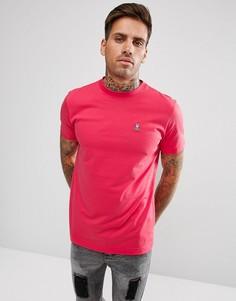 Розовая футболка классического кроя с круглым вырезом Psycho Bunny - Розовый