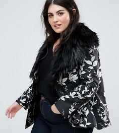 Жаккардовая куртка с вышивкой и пушистым воротником Dolly & Delicious Plus Premium - Мульти