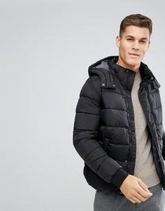 Черная дутая куртка со съемным капюшоном United Colors of Benetton - Черный