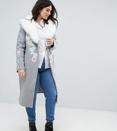 Пальто-бушлат в стиле оверсайз с вышивкой и пушистым воротником Dolly & Delicious Plus Premium - Серый