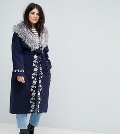 Премиум-пальто с вышивкой и пушистой отделкой Dolly & Delicious Plus - Темно-синий