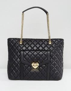 Стеганая сумка-шоппер Love Moschino - Черный