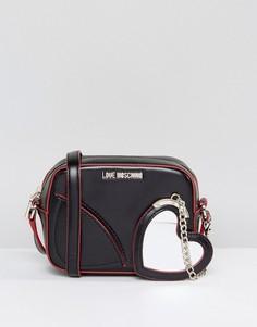 Сумка через плечо с декоративным сердцем на цепочке Love Moschino - Черный