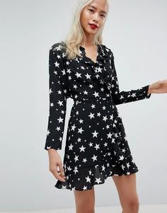 Платье мини с запахом и звездным принтом ASOS - Мульти