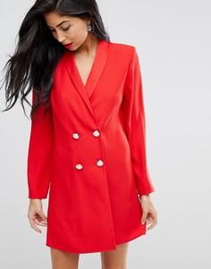 Платье мини с пуговицами из искусственного жемчуга ASOS ULTIMATE - Красный