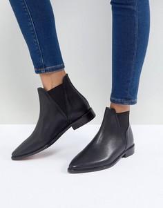 Черные кожаные ботинки челси на плоской подошве Hudson Clemence - Черный