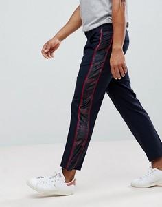 Строгие укороченные брюки узкого кроя с бархатными клетчатыми полосками по бокам ASOS - Темно-синий